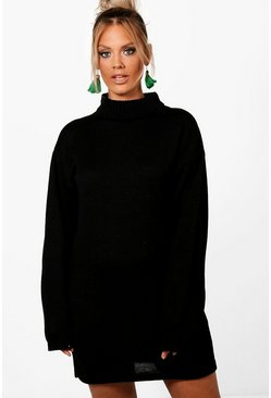 Womens Black Plus Oversized Jumper Dress