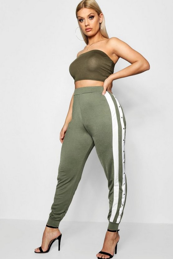 Plus Crepe Sports Stripe Button Jogger