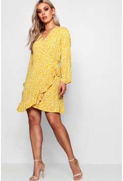 Womens Mustard Plus Ruffle Spot Wrap Dress