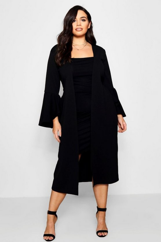 Womens Black Plus Crepe Ruffle Sleeve Duster