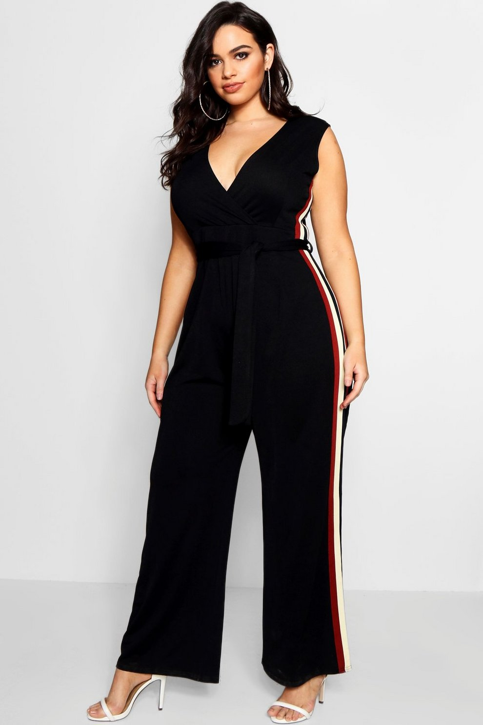 ccc7489d543 Plus Hana Crepe Sports Stripe Wrap Jumpsuit