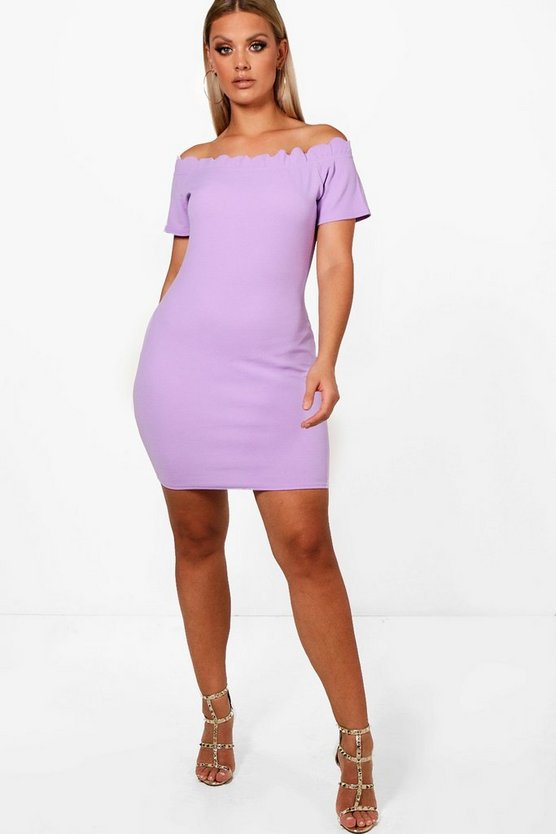 Plus Scallop Edge Off Shoulder Bodycon Dress