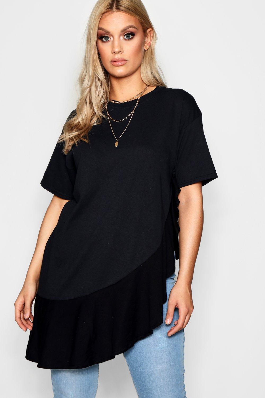 con Plus bobos extra de negro dobladillo grande Camiseta FvgEqwUE