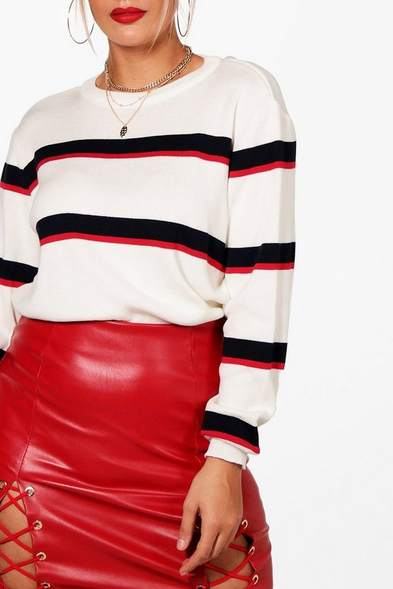 Plus Stripe Oversized Jumper by Boohoo