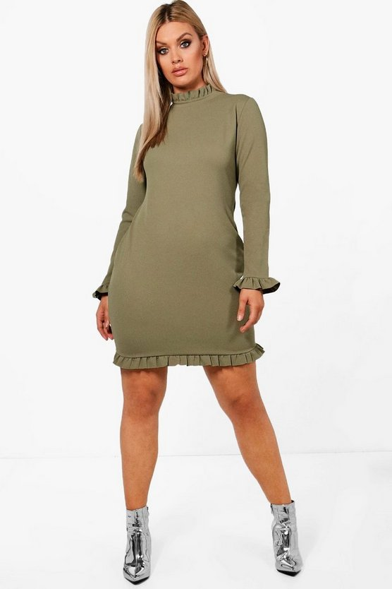 Plus High Neck Ruffle Bodycon Dress