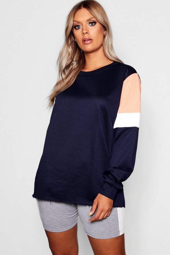 Plus Colour Block Sweat Top