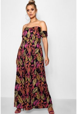 Womens Black Plus Palm Off Shoulder Maxi Dress