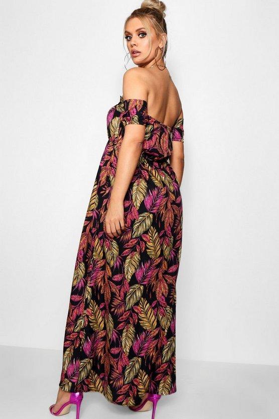 Plus Palm Off Shoulder Maxi Dress
