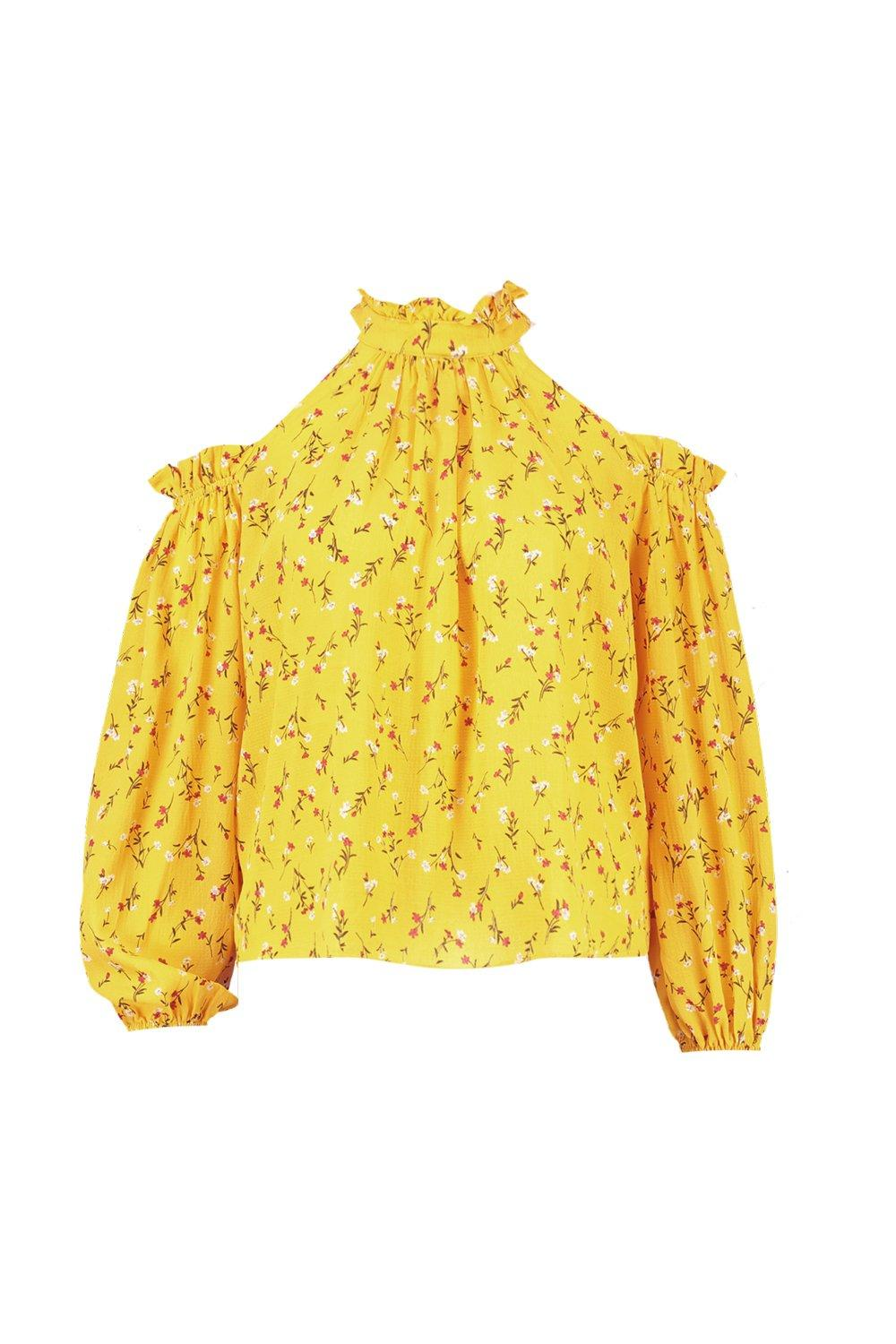 Top Shoulder Plus Floral yellow Ruffle Cold wvn6q4Rp