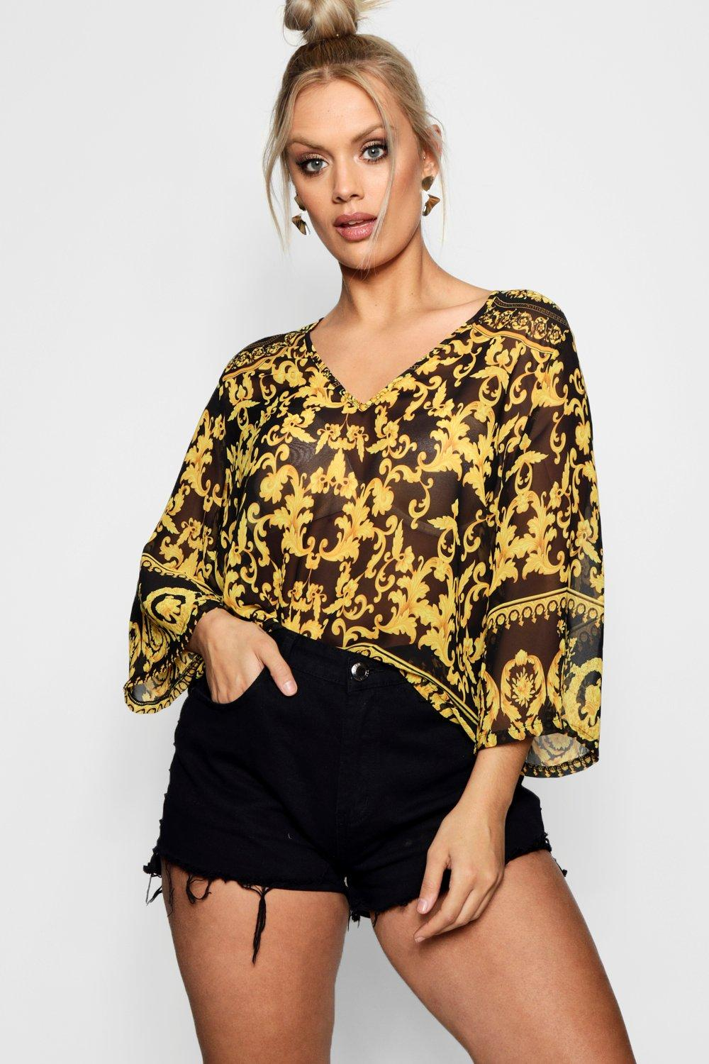 6812c3fc7bc8c Plus Chain Print Blouse. Hover to zoom