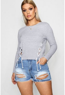 Womens Grey Plus Lace Up Ribbed Long Sleeve Top
