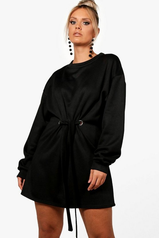 Womens Black Plus Front Tie Sweat Dress