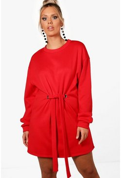 Womens Sahara red Plus Front Tie Sweat Dress