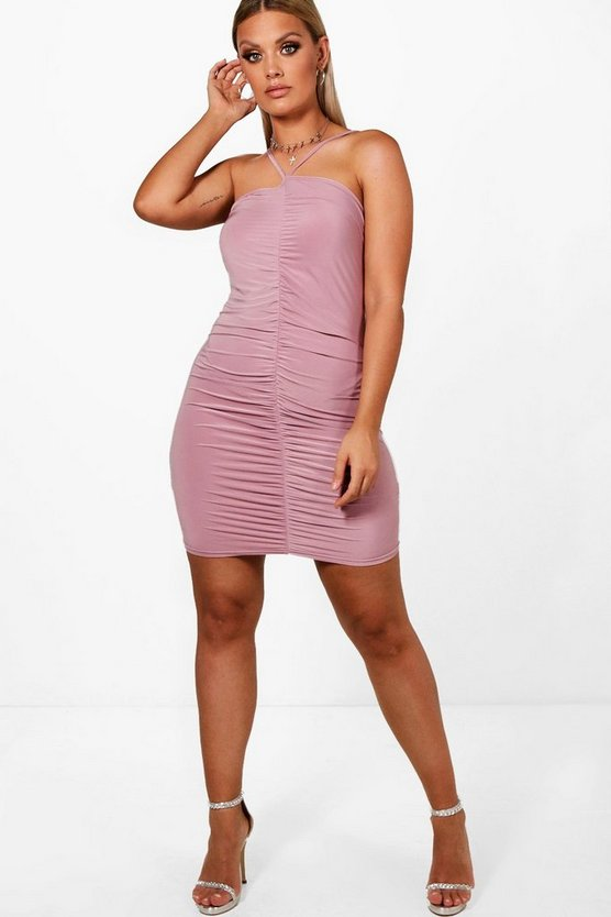 Plus Slinky Ruched Detail Bodycon Dress