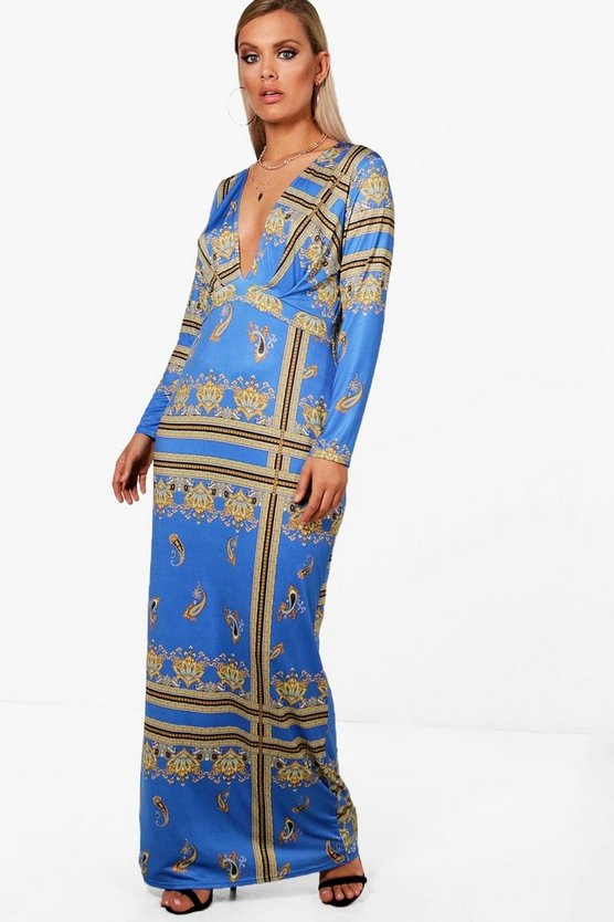 Plus Plunge Neck Paisley Maxi Dress