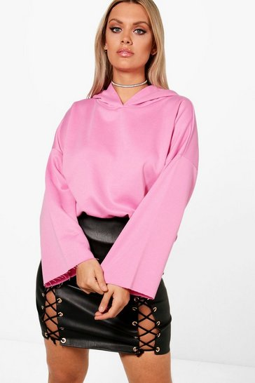 Womens Powder pink Plus Raw Hem Sweat Top