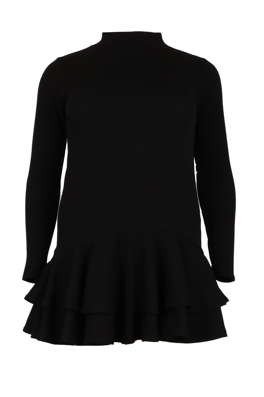 black High Plus Shift Ruffle Neck Dress YS6YfqwX