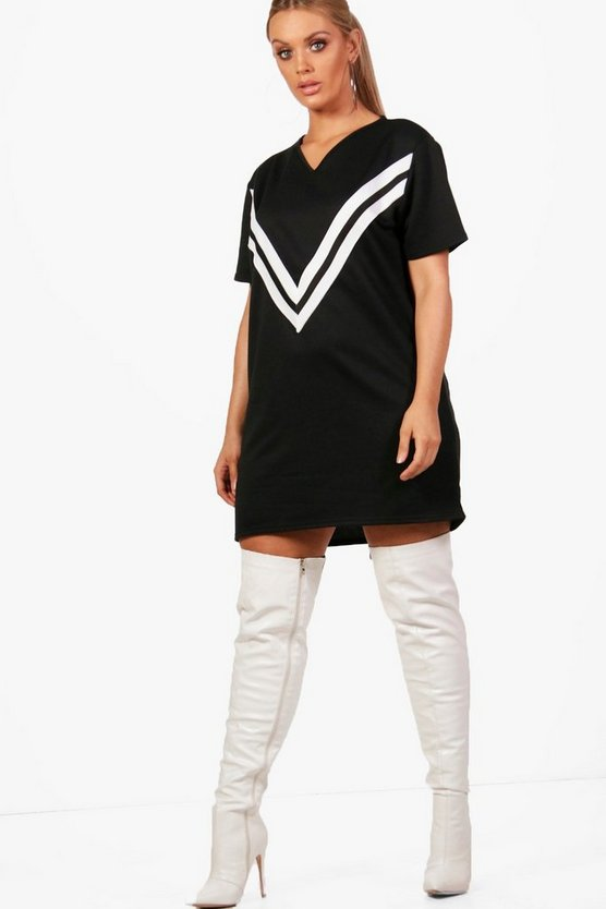 Plus Sports V Trim Sweat Dress