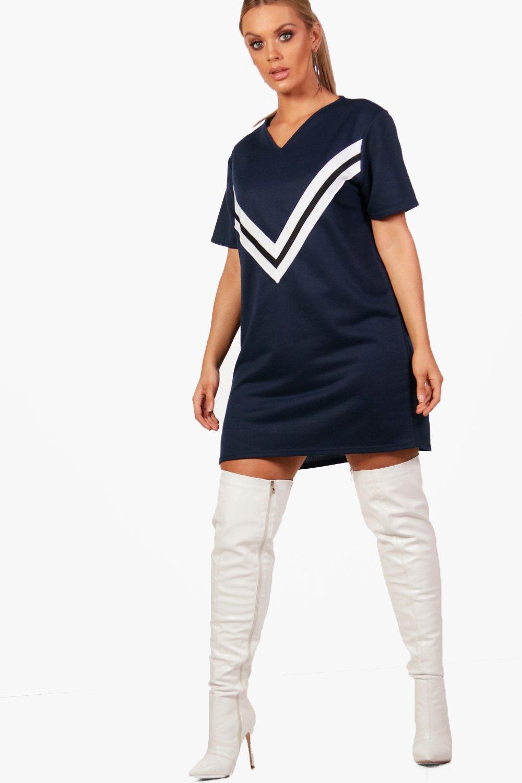 Plus Sports V Trim Sweat Dress