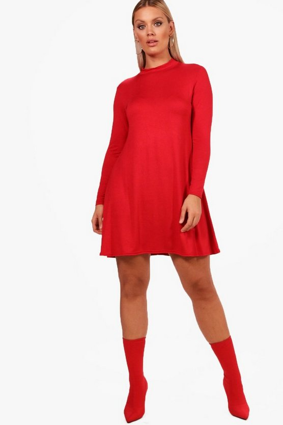 Plus High Neck Long Sleeve Swing Dress