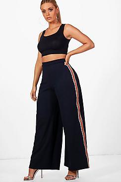 1930s Wide Leg Pants and Beach Pajamas Plus Lucy Sports Trim Wide Leg Trouser $38.00 AT vintagedancer.com