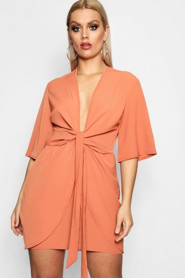 Womens Brick Plus  Plunge Tie Front Dress