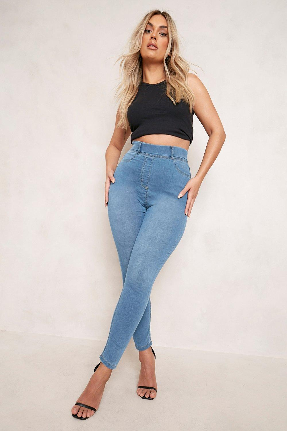 Jeggings Plus Jeggings claro azul básicos básicos Plus 4w5xqTz0