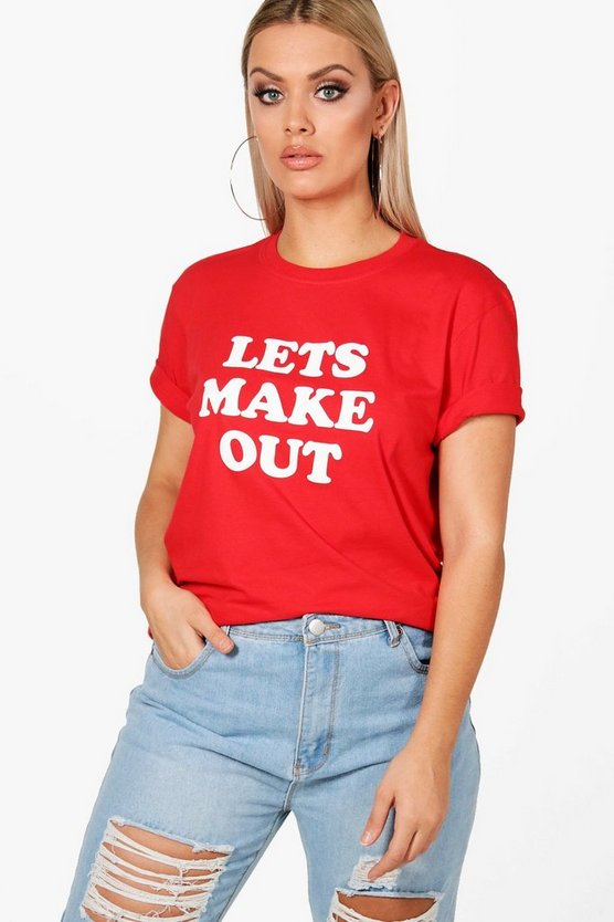 Plus Lydia 'Let's Make Out' Slogan T Shirt, Red, DAMEN