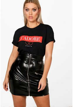 Womens Black Plus J'adore Paris Slogan T Shirt