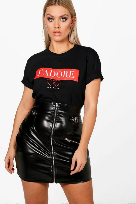 Plus J'adore Paris Slogan T Shirt, Black, Donna