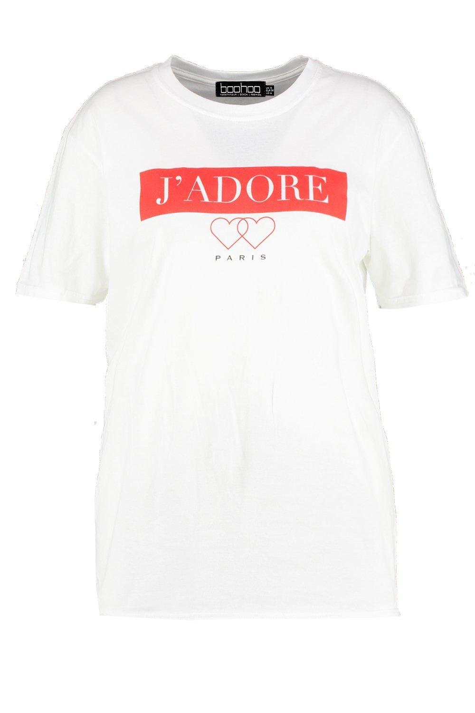 T Slogan Paris Shirt white J'adore Plus tvBwzz