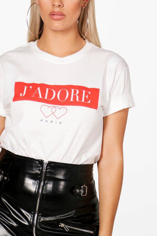 white J'adore Shirt T Slogan Paris Plus n18zqXw