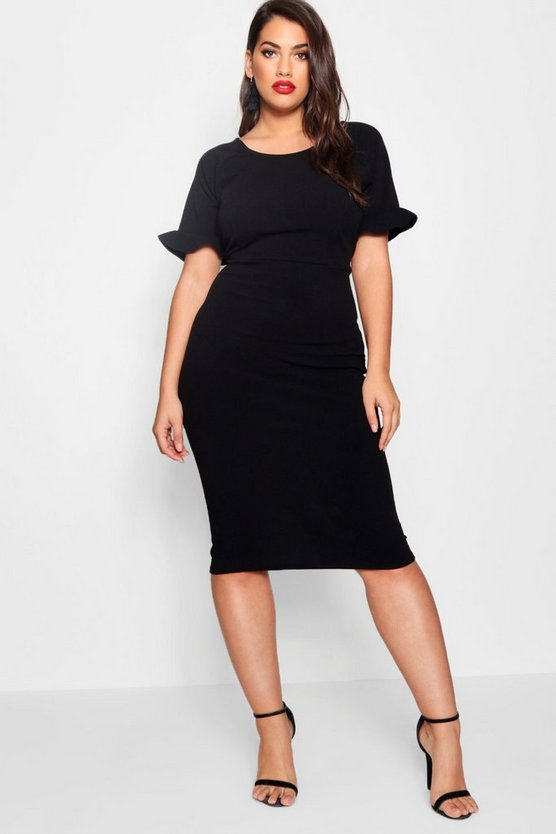 Womens Plus Crepe Ruffle Tailored Midi Dress
