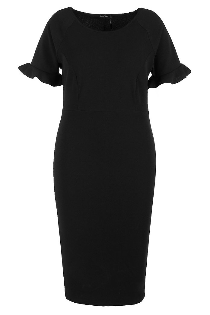Plus Crepe Ruffle Tailored Midi Dress | boohoo | Plus size