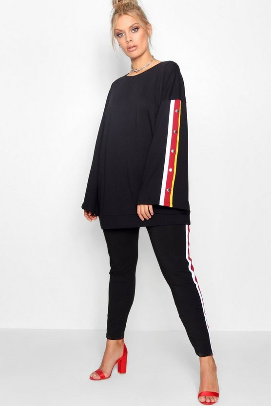 Black Plus Popper Stripe Sweat Lounge Set