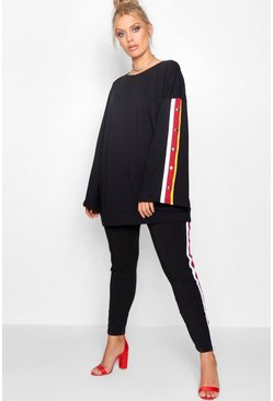 Womens Black Plus Popper Stripe Sweat Lounge Set