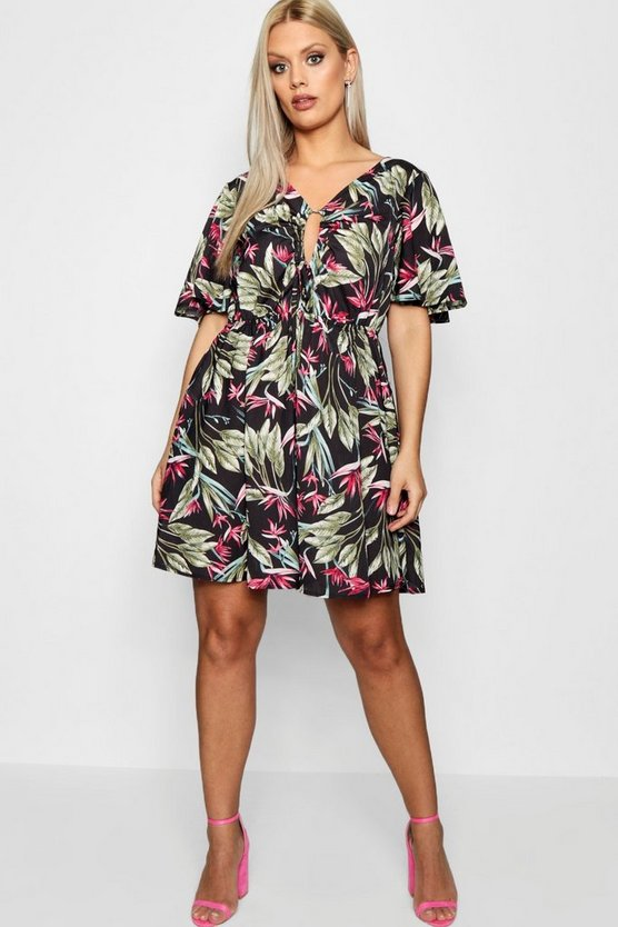 Plus Kate Floral Print Ruched Cut Out Mini Dress
