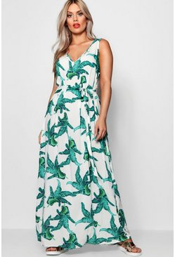 White Plus Floral Print V Neck Maxi Dress