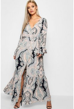 Blush Plus Paisley Wrap Maxi Dress