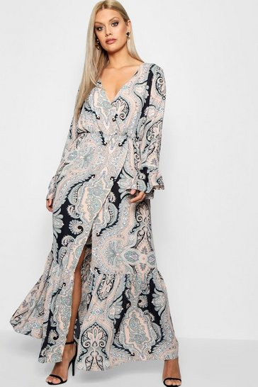 Womens Blush Plus Paisley Wrap Maxi Dress