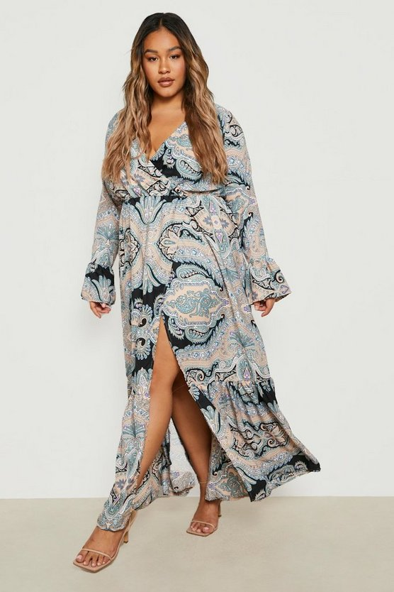 Plus Paisley Wrap Maxi Dress