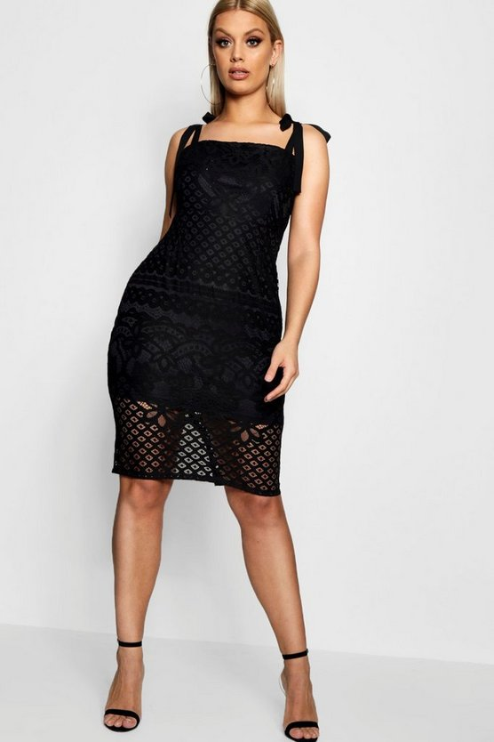 Plus Lace Square Neck Tie Shoulder Midi Dress