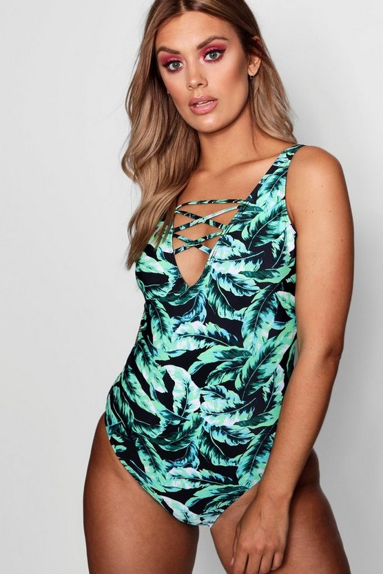 Plus Leaf Print Bardot Ruffle Swimsuit