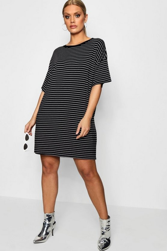 Womens Black Plus Striped T Shirt Dress