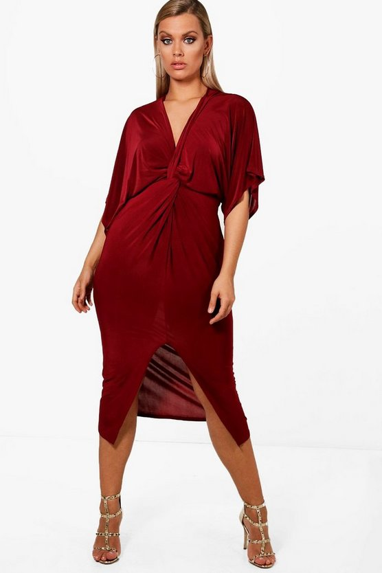 Womens Cranberry Plus Knot Front Slinky Dress