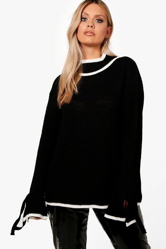 Plus Roll Neck Tipped Tie Sleeve Jumper