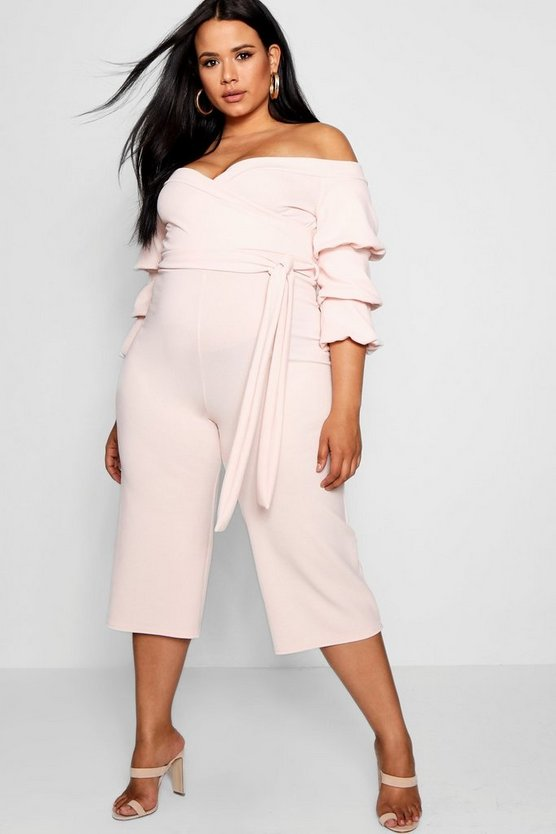 Plus Off Shoulder Tie Jumpsuit