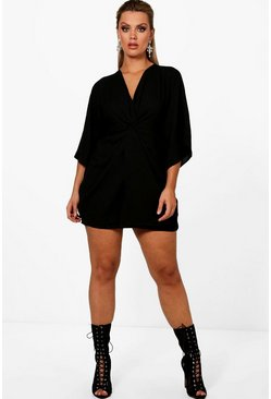 Womens Black Plus  Knot Detail 3/4 Sleeve Dress
