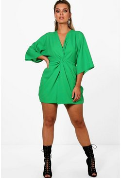 Womens Leaf green Plus  Knot Detail 3/4 Sleeve Dress
