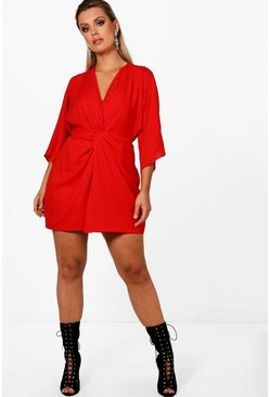 Womens Red Plus  Knot Detail 3/4 Sleeve Dress